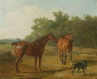 two horses and a greyhound in a landscape by jacques-laurent agasse