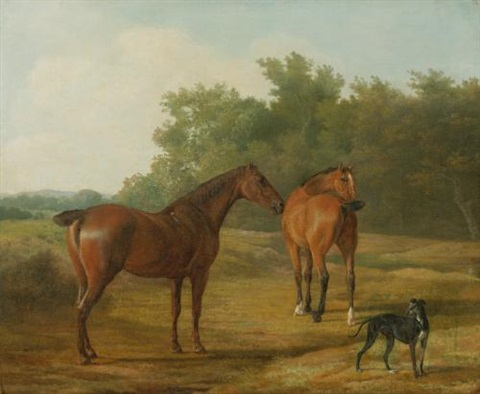 two horses and a greyhound in a landscape by jacques laurent agasse