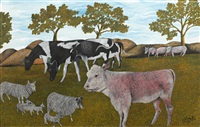 cows and sheep in a field by james lloyd