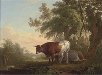 cattle on a riverbank by charles towne