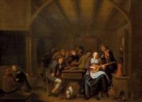 joyeuse compagnie dans un estaminet avec un couple de musicien by jan miense molenaer