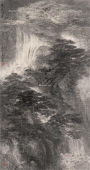 幽壑飞泉图 镜框 水墨纸本 (landscape) by xiao haichun