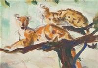 zwei leoparden by hans josef weber-tyrol