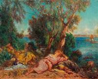 femmes alanguies sur un rivage méditerranéen by lucien laurent-gsell