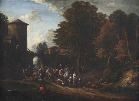 a wooded landscape with merchants near a village gate by adrian fransz boudewijns and pieter bout