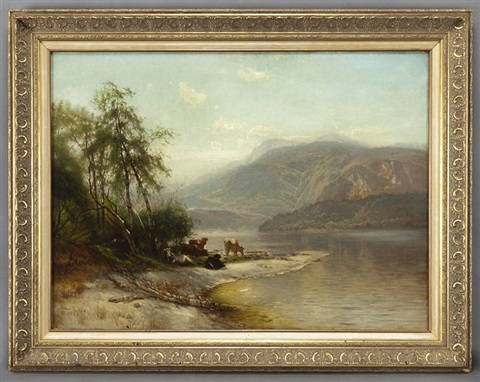 hudson river landscape with cow by arthur parton