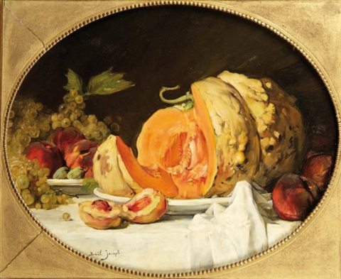 nature morte à la citrouille et aux fruits by joseph bail