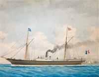 """le navire mixte """"lafarge"""" by louis françois prosper roux"""