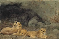 a lioness and her cubs by wilhelm friedrich kuhnert