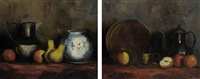 still life with apples and teapot (+ still life with pears and blue vase; 2 works) by haralambos potamianos