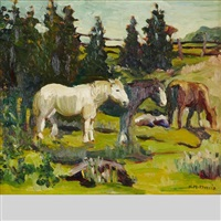 horses grazing in a field by kathleen moir morris