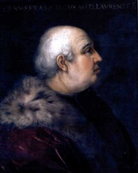 portrait of pier francesco di lorenzo di bicci de' medici wearing a fur-collared crimson coat by cristofano di papi dell' altissimo