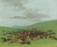 buffalo chase, a surround by the hidatsa by george catlin