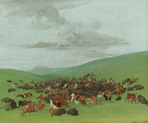buffalo chase a surround by the hidatsa by george catlin