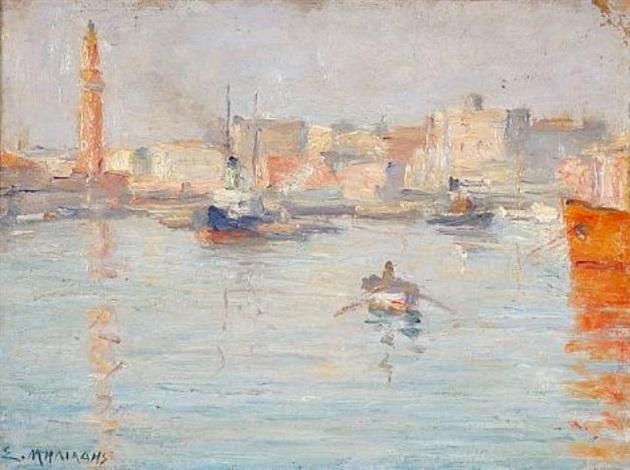 harbour scene by stelios miliadis