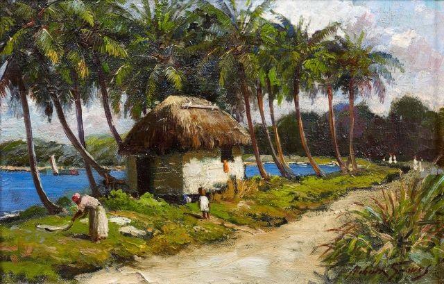 plage bordée de cocotiers by abbott fuller graves