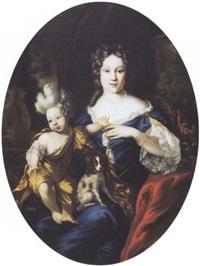 dame de qualité assise, son enfant et son petit chien sur les genoux by jan de baen