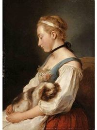 portrait of a young woman, holding a spaniel by charles françois hutin