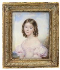 portrait de jeune fille à la robe rose by francois meuret