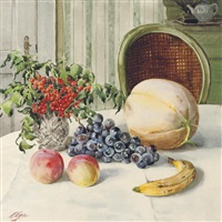 melon, grapes, peaches, a banana and berries on a table by olga aleksandrovna (princess of storfyrstinde)