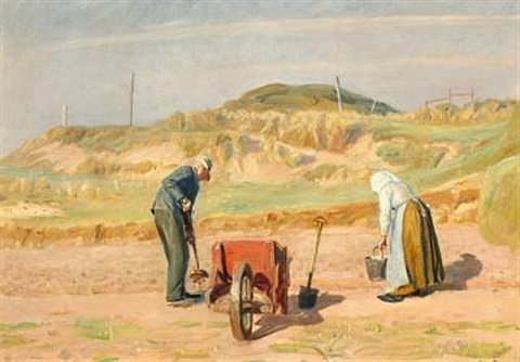 an old couple collecting potatoes near the dunes skagen by michael peter ancher