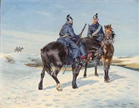 winter landscape with dragoons on horseback by karl frederik christian hansen-reistrup