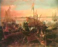 l'attaque d'un navire hollandais par des galeres      espagnoles dans le port d'anvers by andries van artvelt (ertvelt)