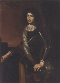 portrait of a gentleman in armour by f. de fager