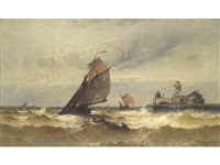 a fishing boat leaving ostend port by theodor alexander weber