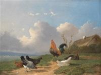 chicken yard by frans van leemputten