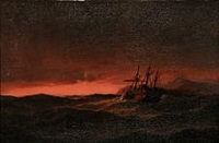 sunset with paddle steamer by carl ludwig bille