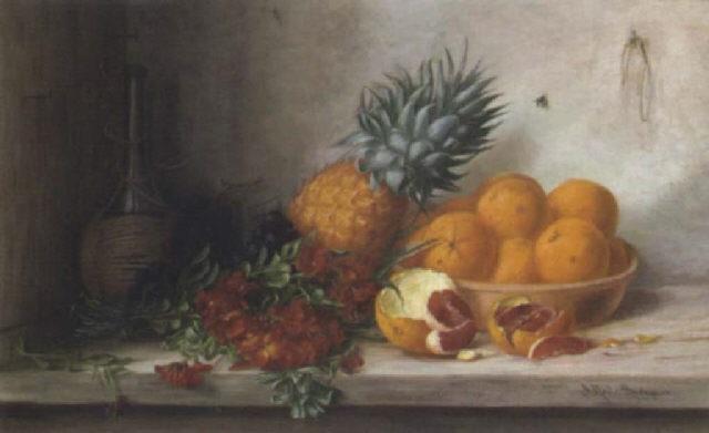 stilleben mit goldlack ananas schale mit orangen und chiantiflasche by alfrida baadsgaard