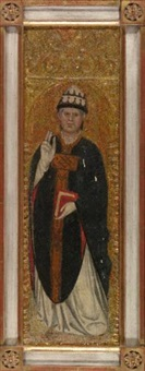 a male saint, holding a book with one hand raised in benediction by taddeo di bartolo