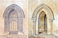 doorway inside wells cathedral; north doorway bokenham ferry, norfolk (pair) by john sell cotman