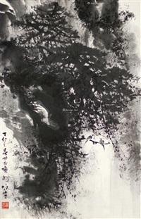 山水 立轴 水墨纸本 by li xiongcai