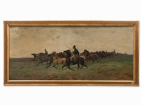 horse drovers in the steppe by giuseppe raggio