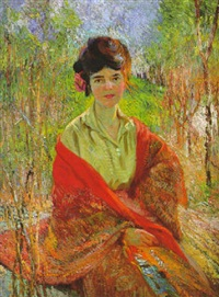 woman with red shawl by charles f. arcieri
