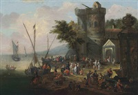 a coastal landscape with elegant company on the shore, shipping beyond by mathys schoevaerdts