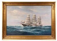 portrait of fully rigged ship at sea by arthur e. bracy
