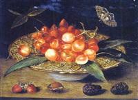 assiette remplie de cerises et de fraises by jacques linard