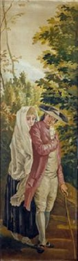 caballero con baston y dama fragment by francisco javier amerigo y aparici