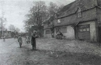 the fiddler in a village street by james townsend