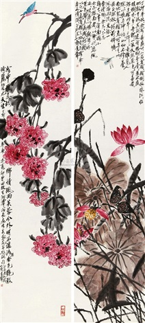 芙蓉花开 flower lotus dragonfly 2 works by qi bingsheng