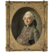 portrait of a gentleman, half-length, wearing a grey tunic with a floral embroidered pattern by françois bruno deshays de colleville