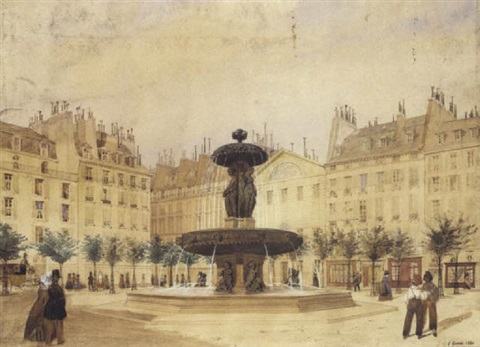 fontaine sur une place animée by louis joseph grosset