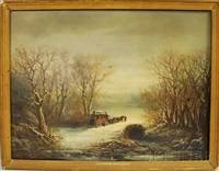 winter landscape with a mail coach by paul ritter