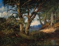resting figure in a forest landscape by hendrik barend koekkoek