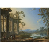 a landscape at evening with travellers and a hunter near classical ruins by pierre patel