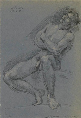 seated male nude nm 258 by paul cadmus