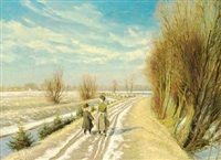 two children on a road with melting snow, early spring by laurits andersen ring